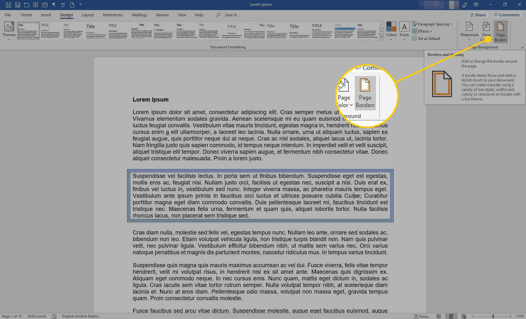 Word with the Page Borders button highlighted