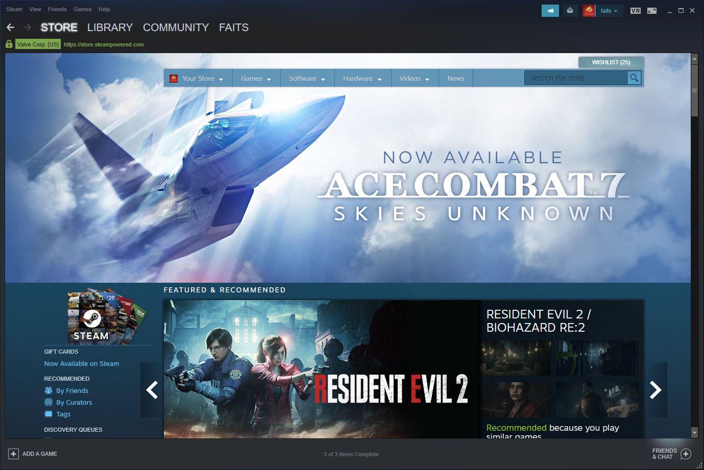 A screenshot of Steam.