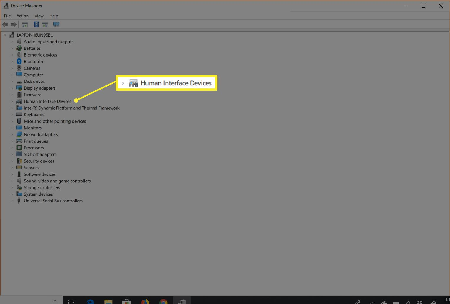 Human Interface Devices item in Device Manager