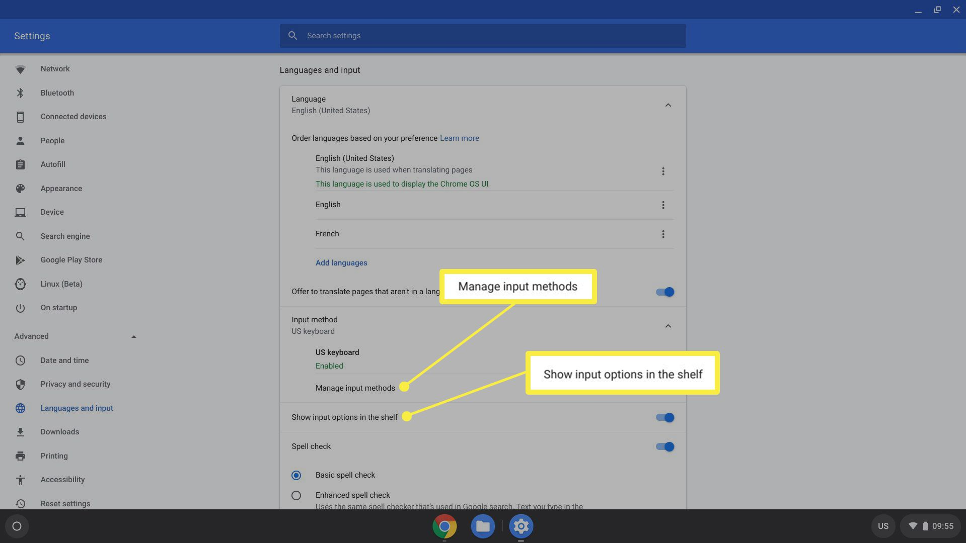 Chrome OS language and input options