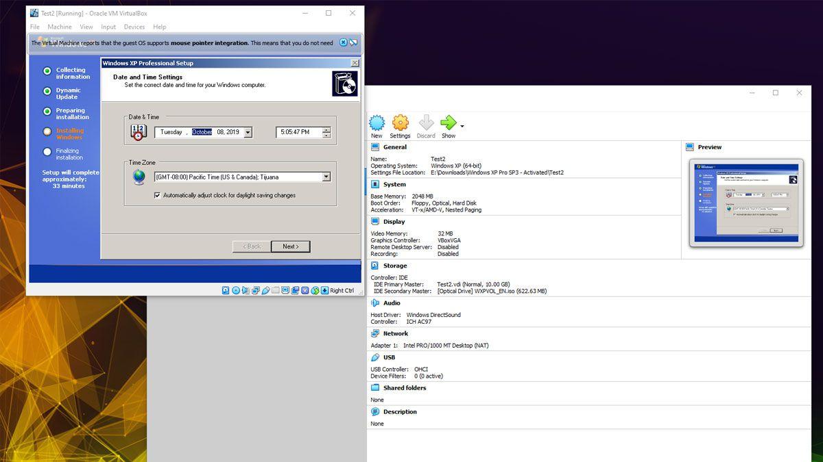 Virtual Box XP emulator