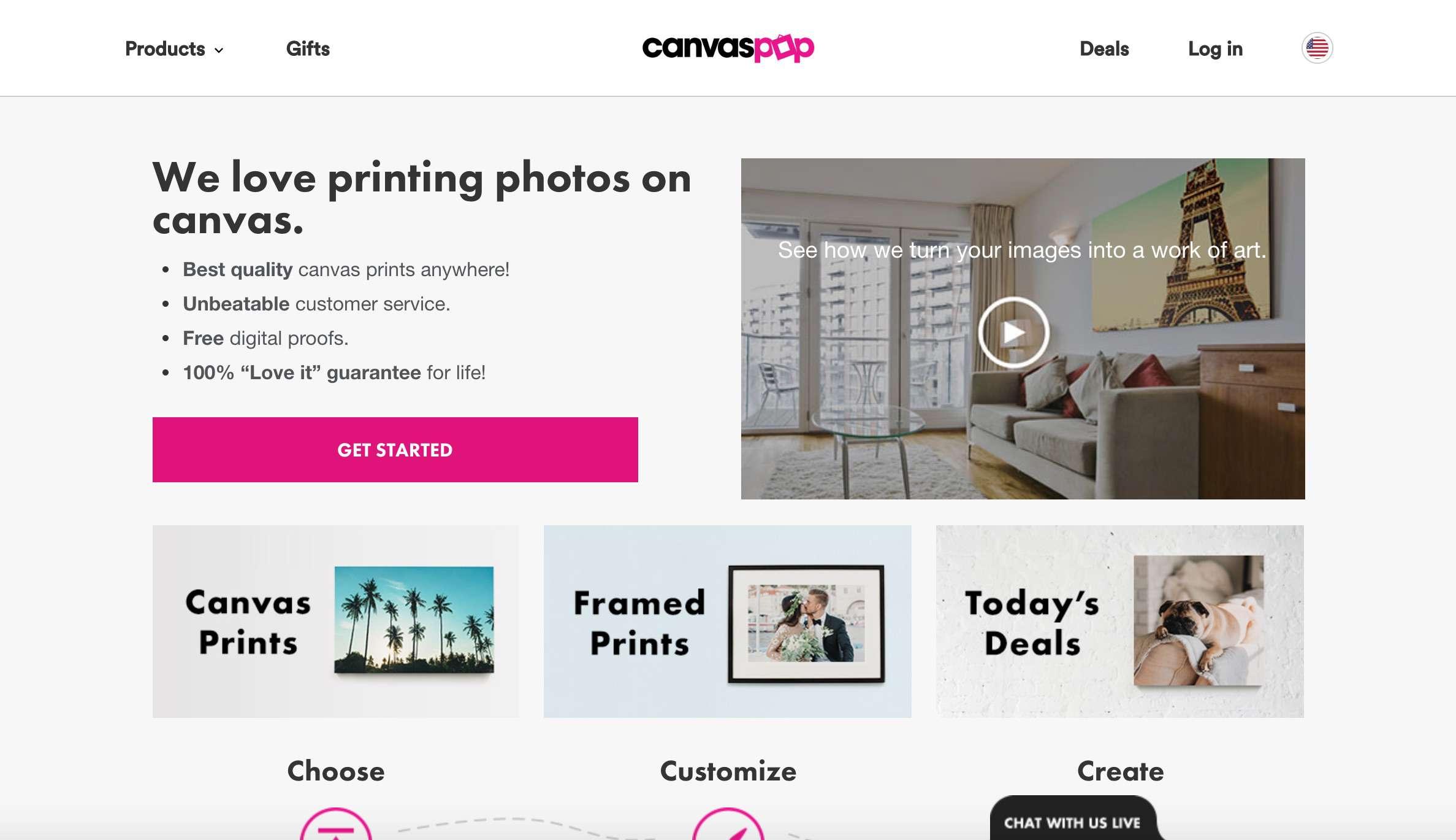 A screenshot of CanvasPop.com.