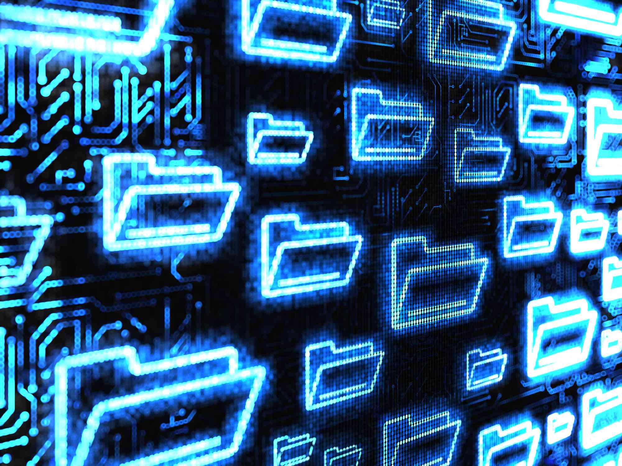 blue digital folders