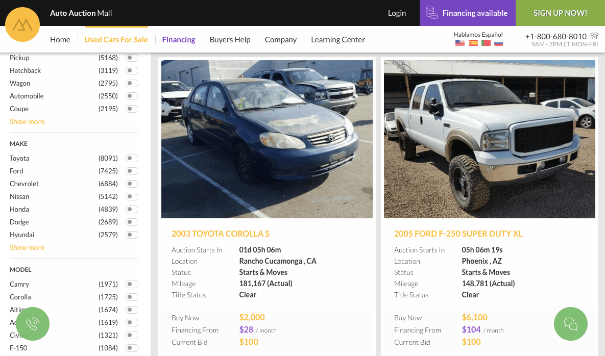 Screenshot of Auto Auction Mall on desktop