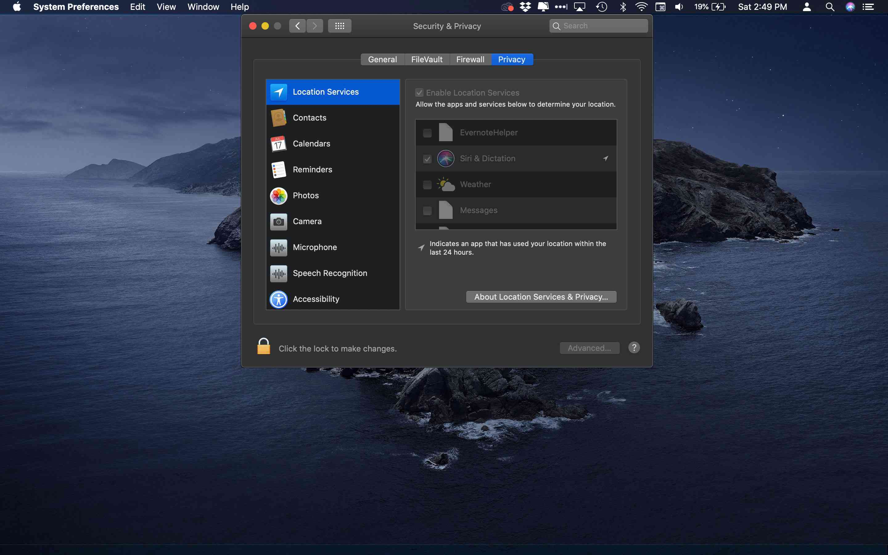 The Privacy tab and Location Services in macOS System Preferences