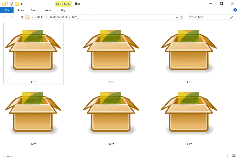 Screenshot of several LZH files in Windows 10 that open with PeaZip