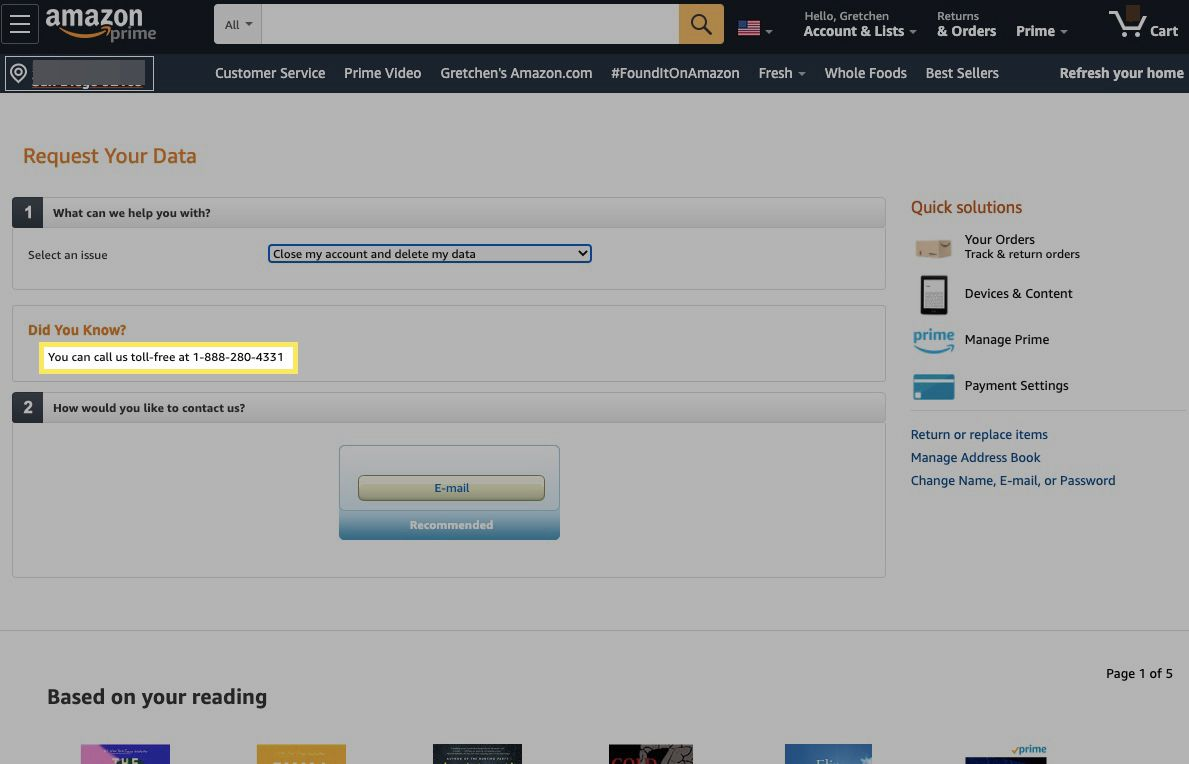 Amazon will show a toll-free number if you'd like to call a customer service agent and have them delete your account.