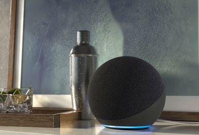 All-new Echo (4th Gen) charcoal Amazon Alexa smart assistant speaker device.