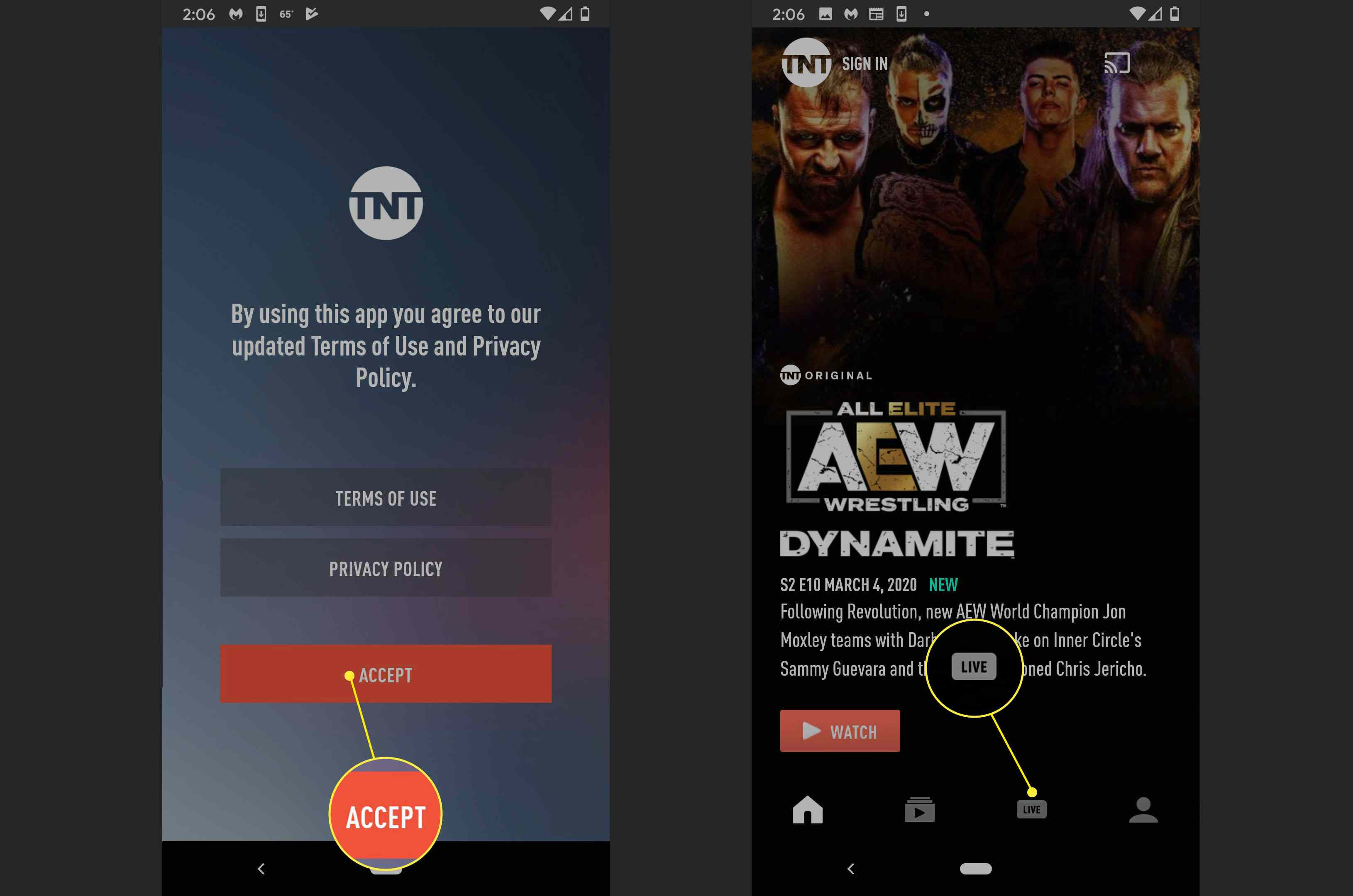 The location of the LIVE option on the TNT streaming app.