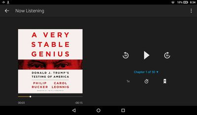 A Very Stable Genius audiobook in the Audible app player controls.