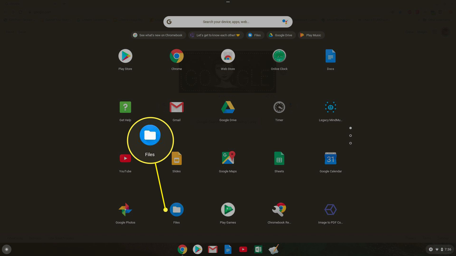 Screenshot of opening the Files app on Chromebook