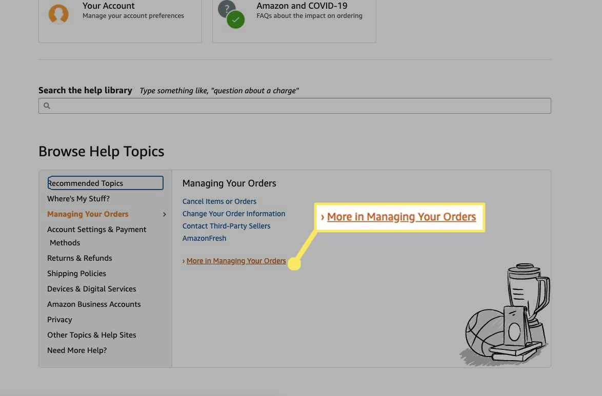 Select More in Managing Your Orders.