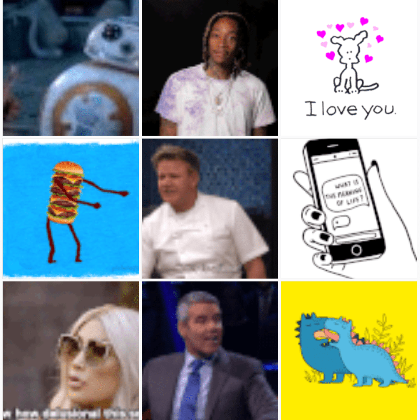Selection of GIFs from Giphy you can edit from the GIF Maker app