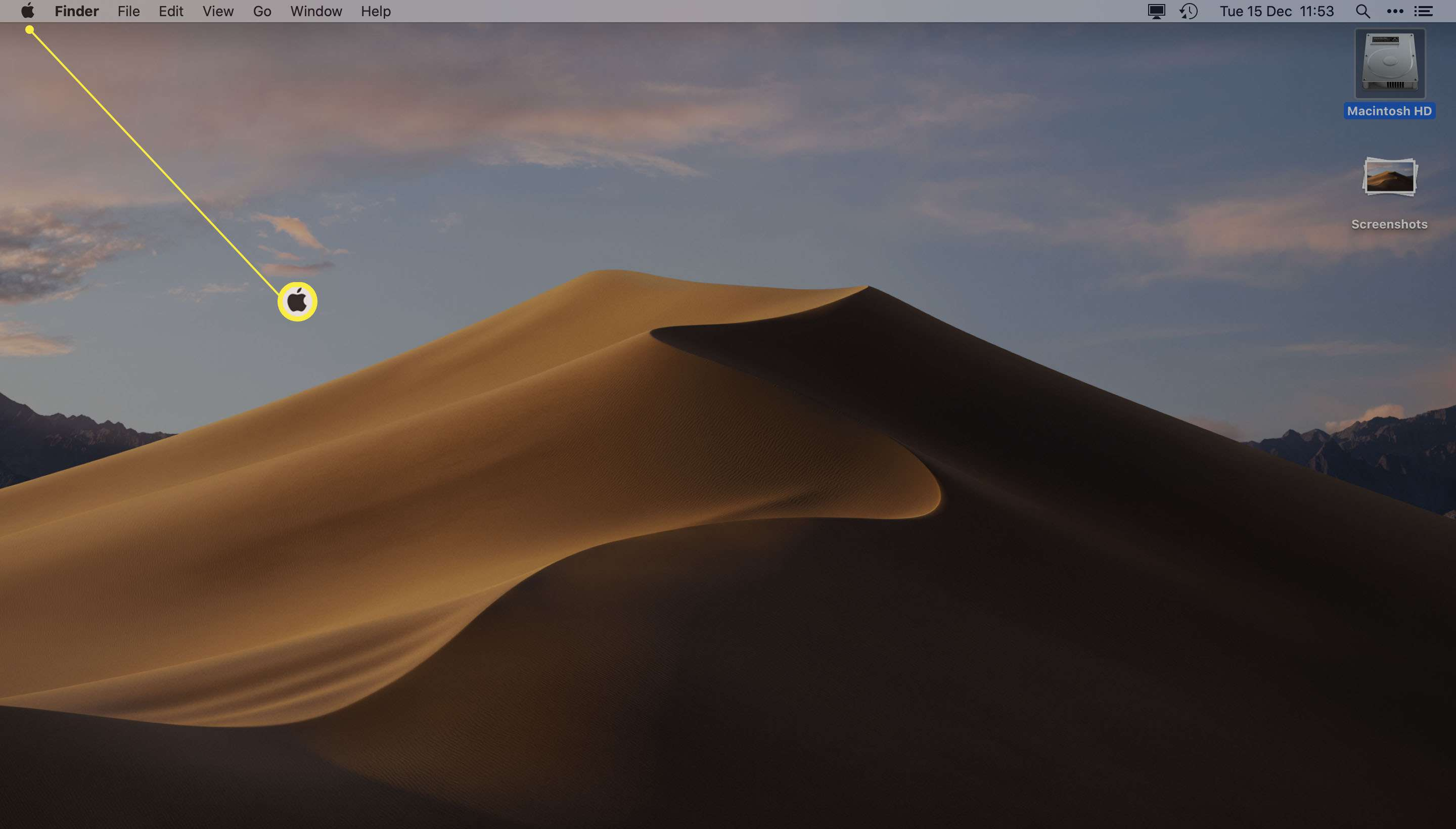 Apple desktop with Apple icon highlighted