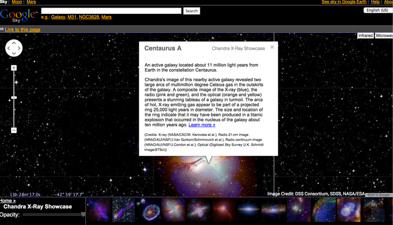 Screenshot of Google Sky on a web browser