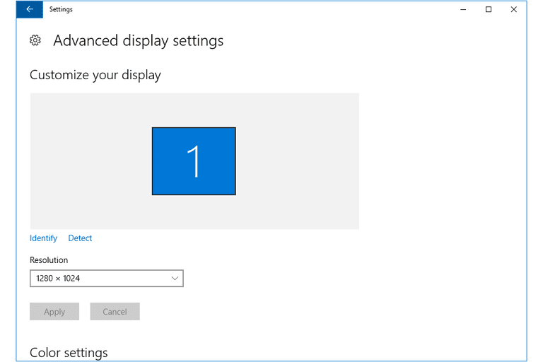 Screenshot of the Advanced display settings screen in Windows 10