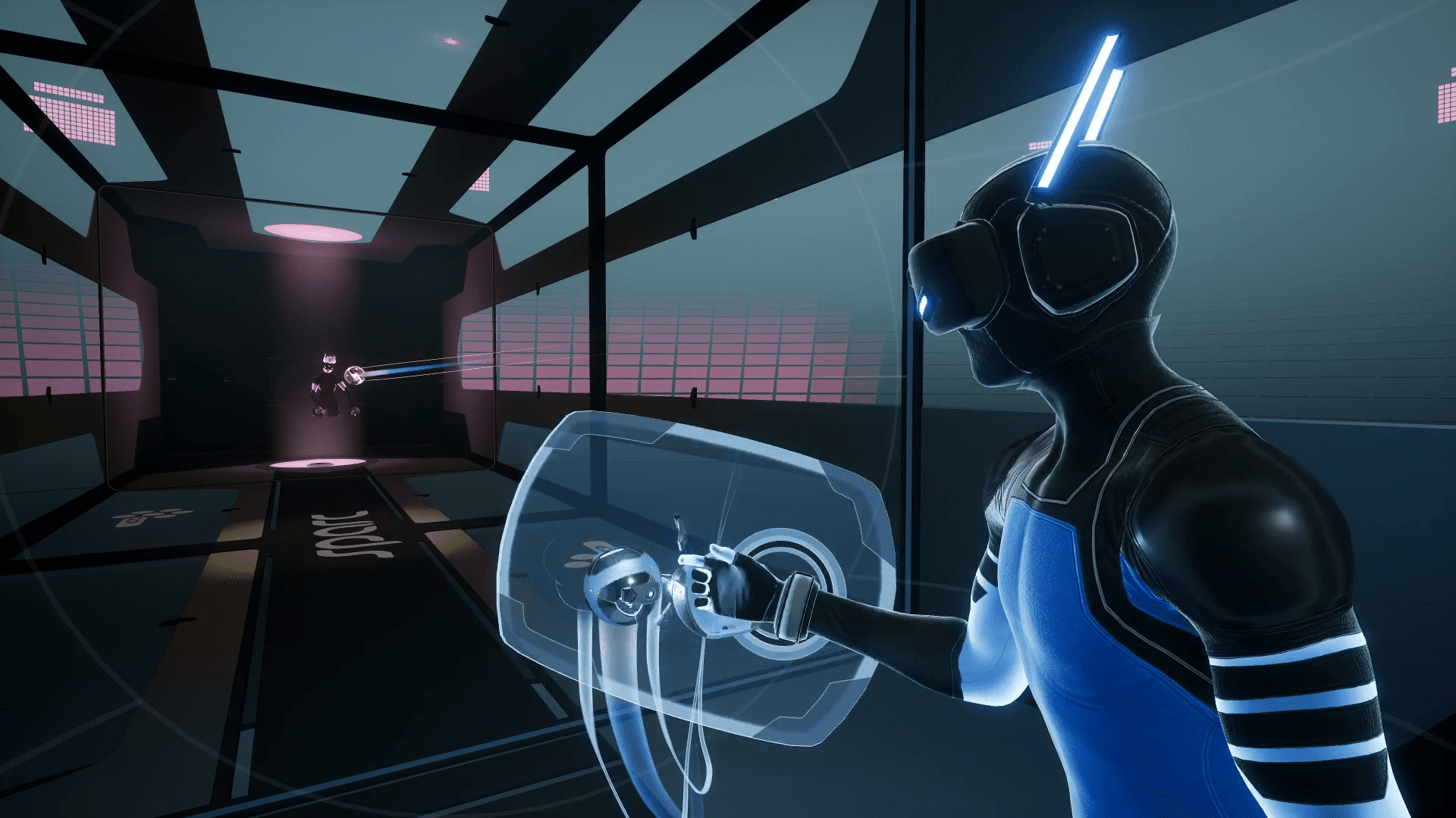 A figure in neon blue stands behind a translucent shield in an arena.