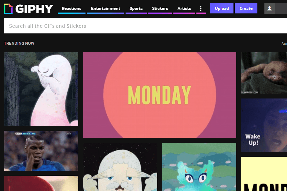GIPHY website.