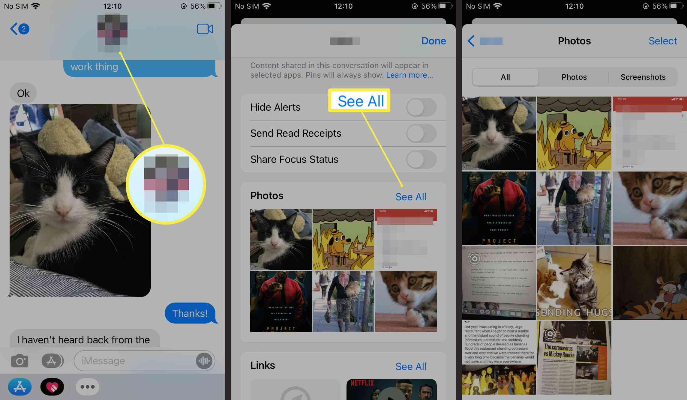 Steps required to see all photos within someone's message history on iOS 15