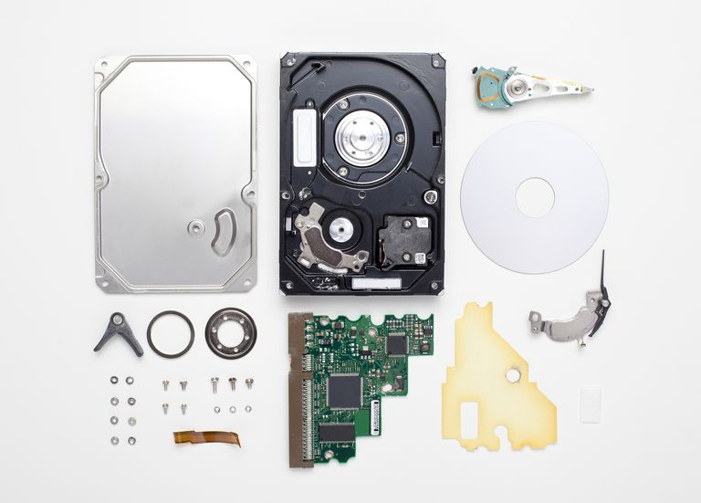 A dismantled hard drive.