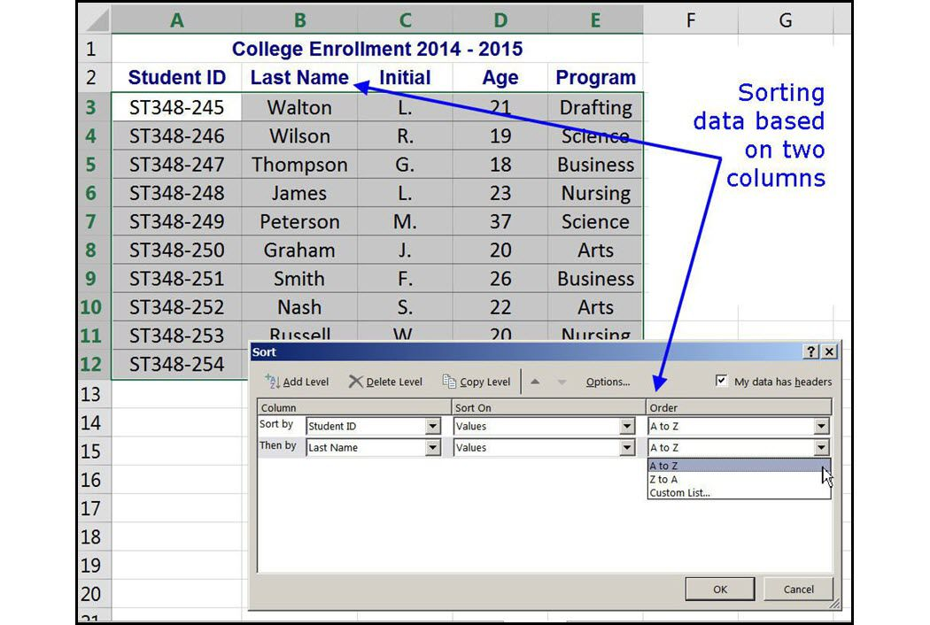 Sort Data After it Has Been Entered in Excel