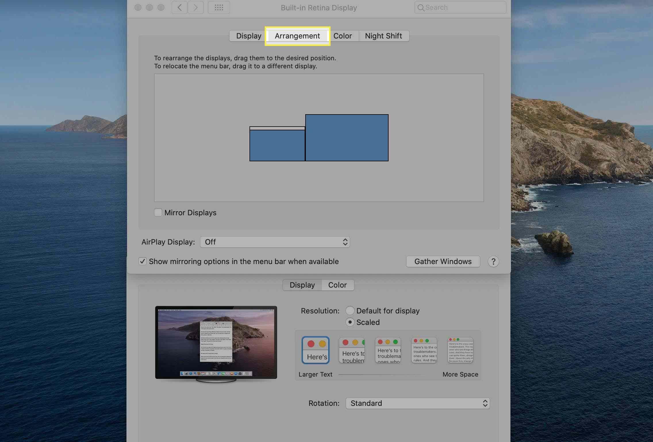 The Arrangement tab displayed under Displays System Preferences on macOS.