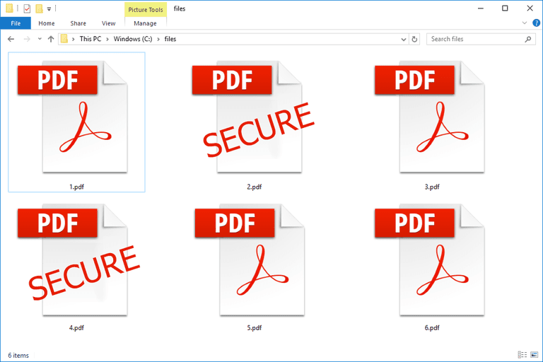 An illustration of password protected PDFs in Windows 10
