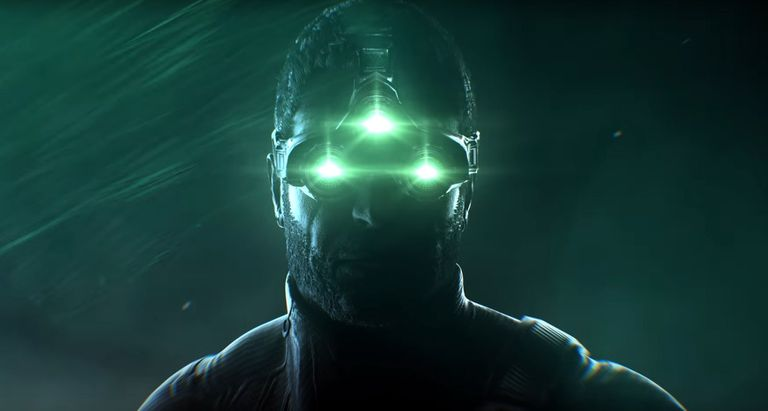 Future soldier with three bright green eye pieces from Tom Clancy's Splinter Cell