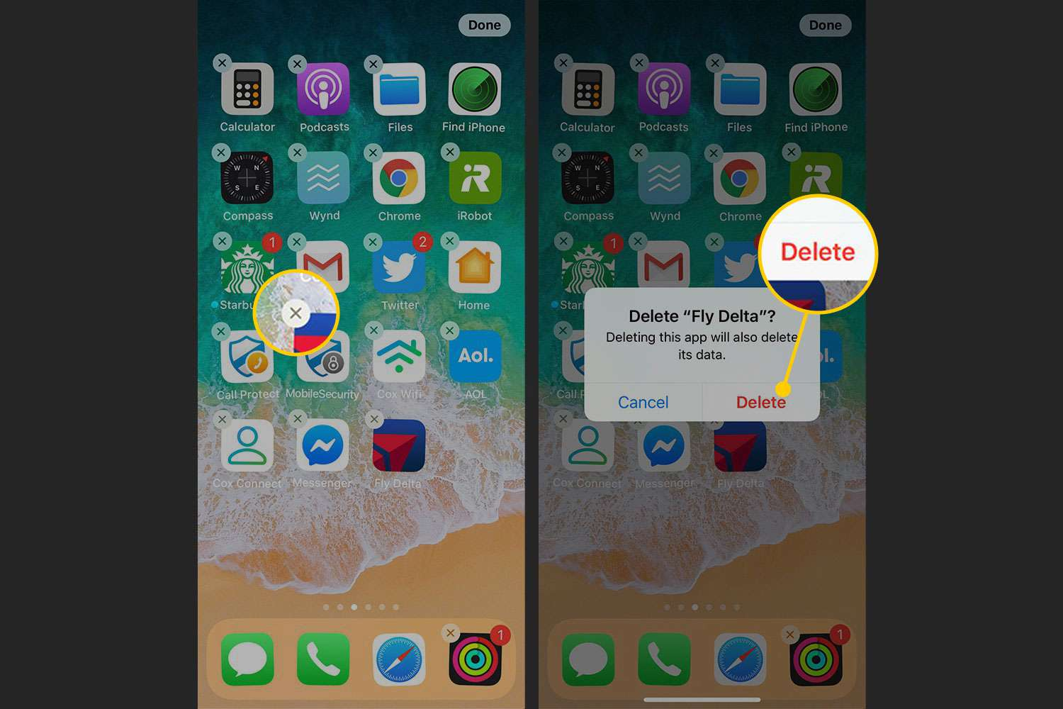 Deleting an app from the home screen on an iPhone