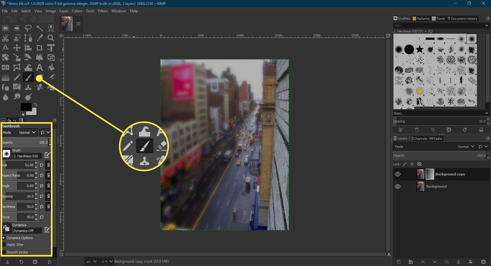 A screenshot of GIMP with the Paintbrush tool and options highlighted