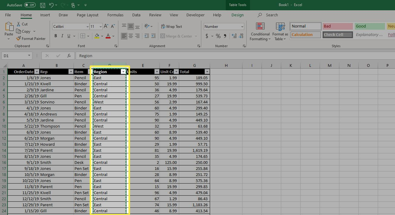 A column in Excel that has been
