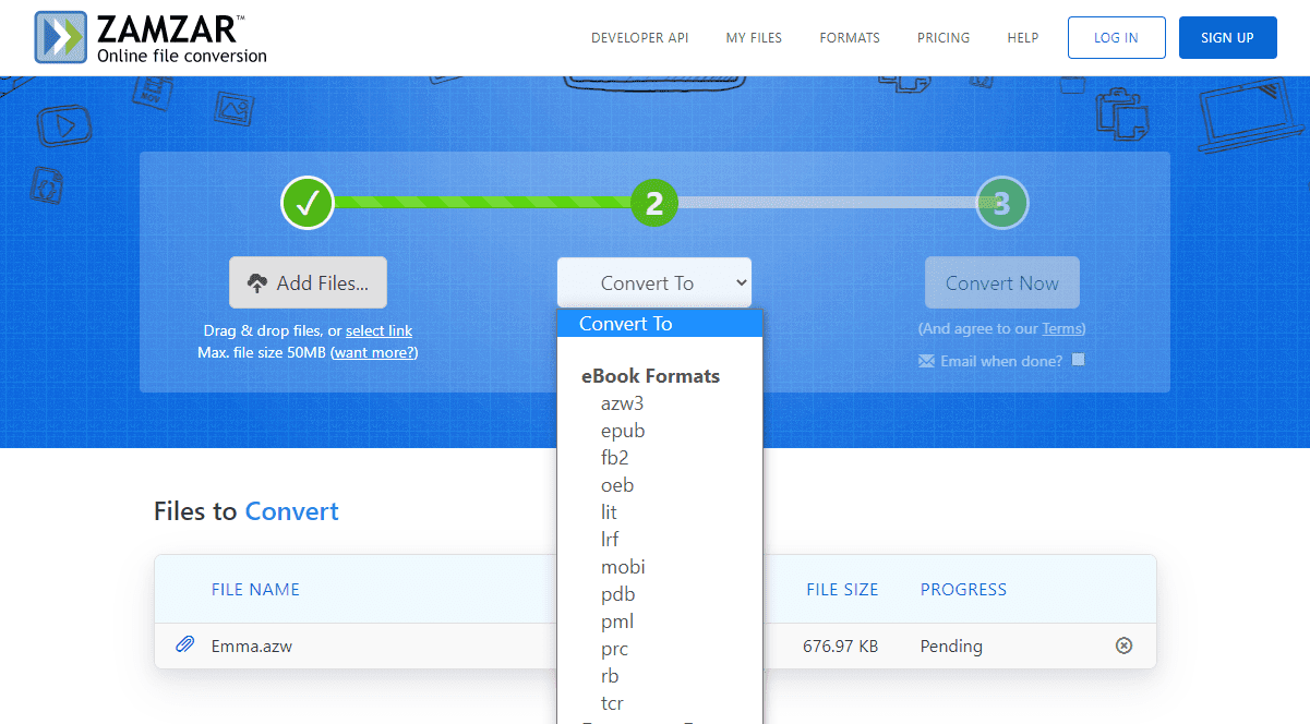 Screenshot of Zamzar's AZW conversion formats