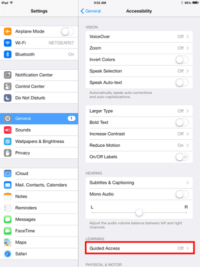 iPad Accessibility settings with Guided Access highlighted
