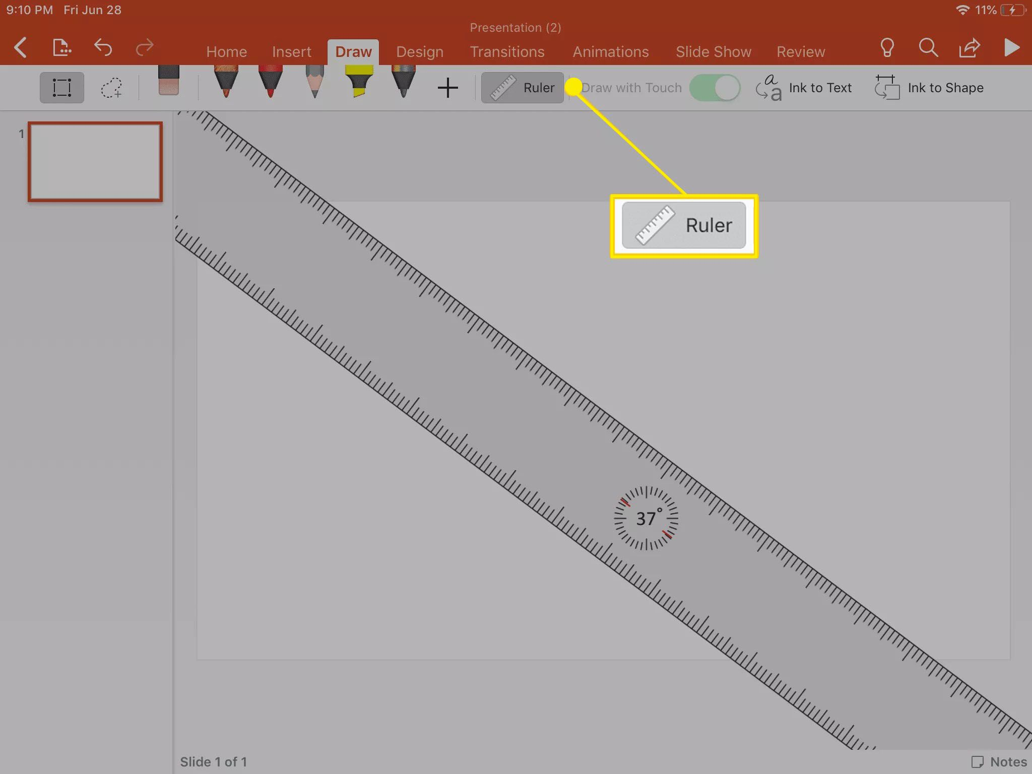 Viewing the Ruler tool inside the Draw tool in PowerPoint.
