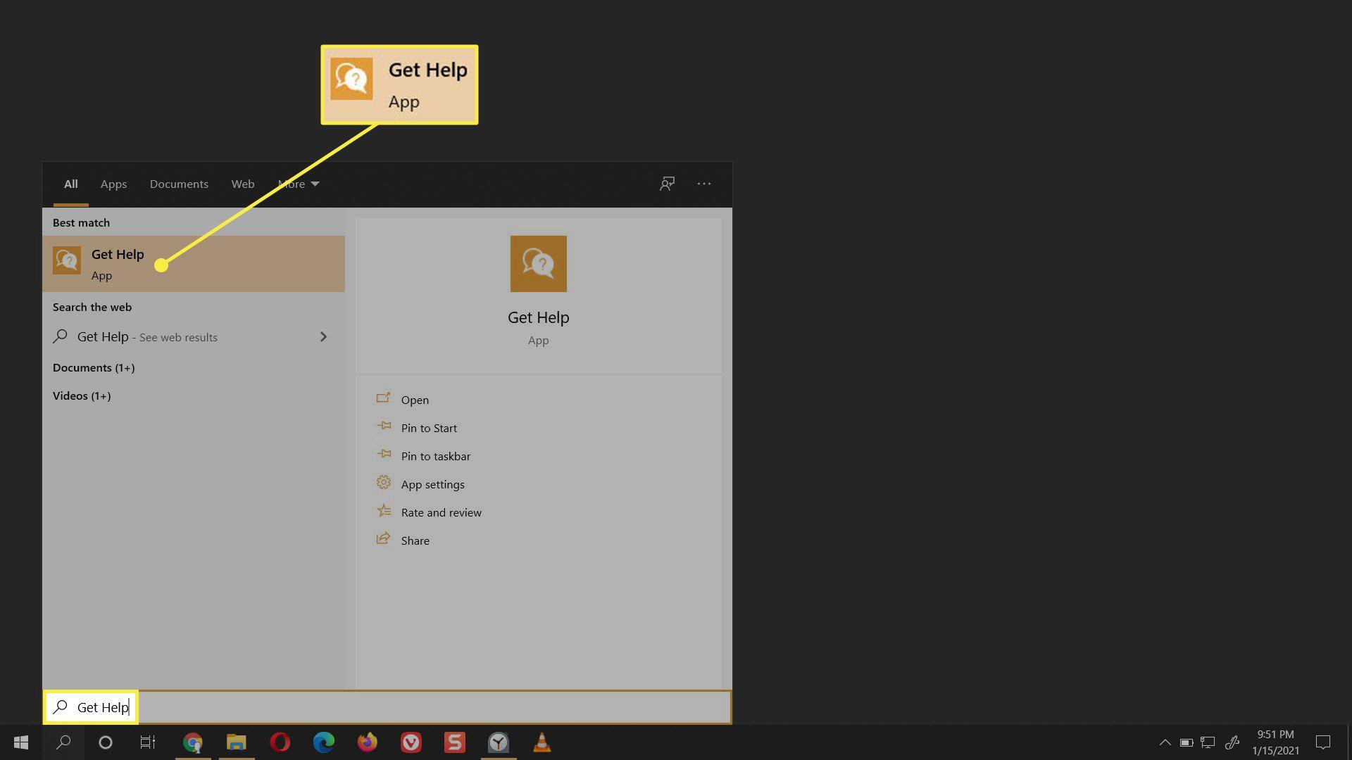 The Get Help app in Windows 10.