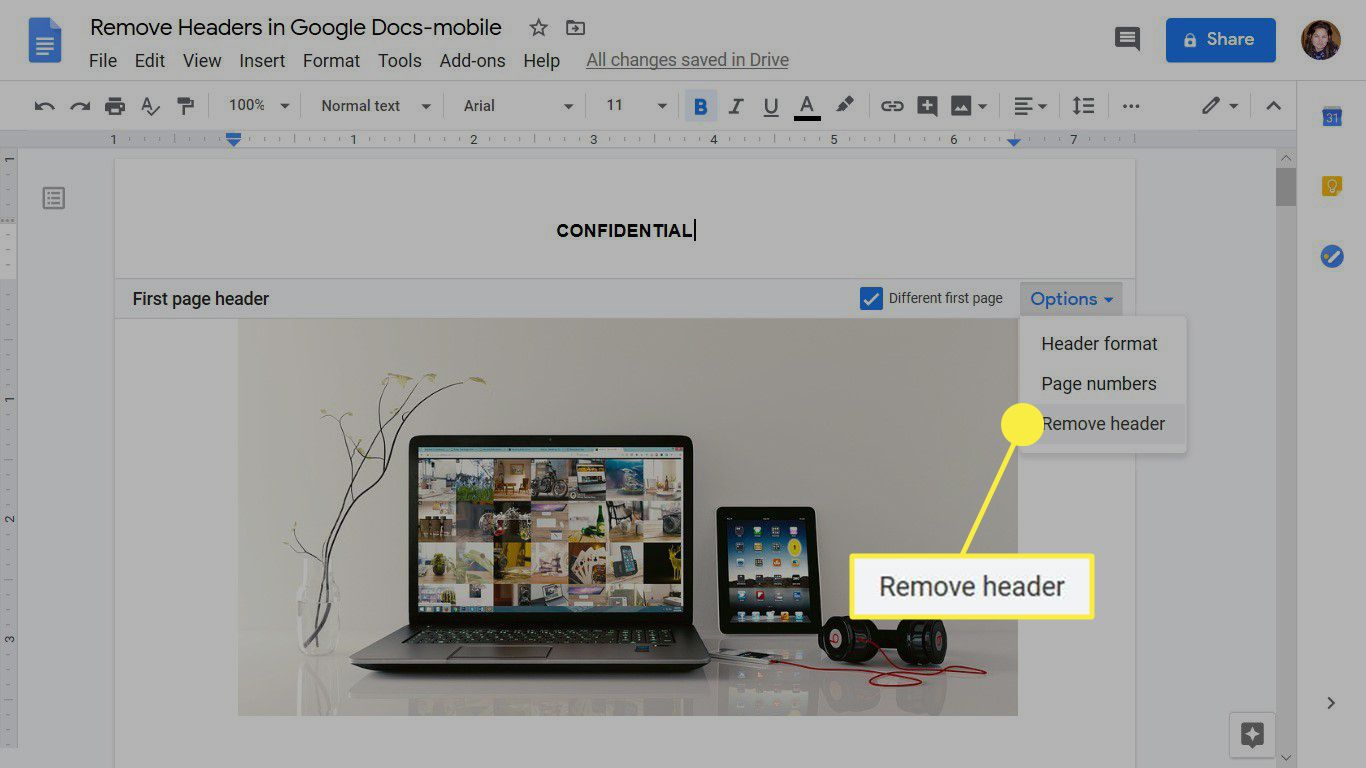 Delete a header in the Google Docs web app