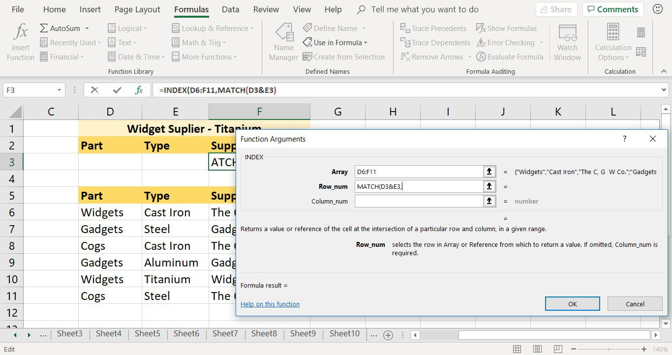 How to enter the MATCH function as an argument for the INDEX function in Excel