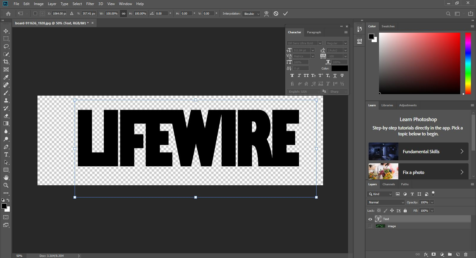 Place an Image Inside Text Using Photoshop
