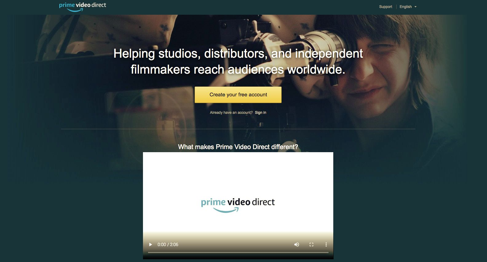 Prime Video Direct Home page