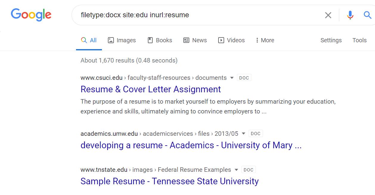 Google resume search