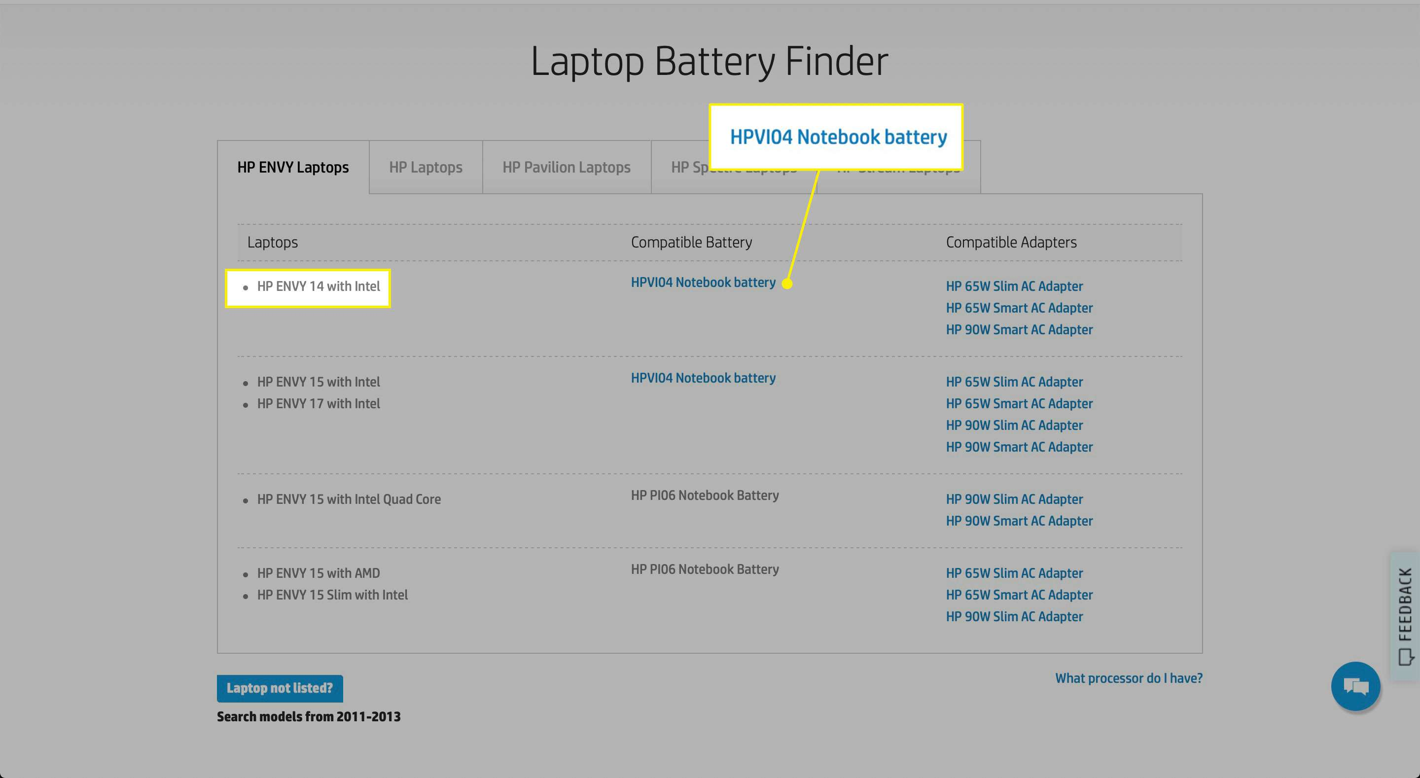A Laptop type and Compatible Battery in the HP Laptop Battery Finder