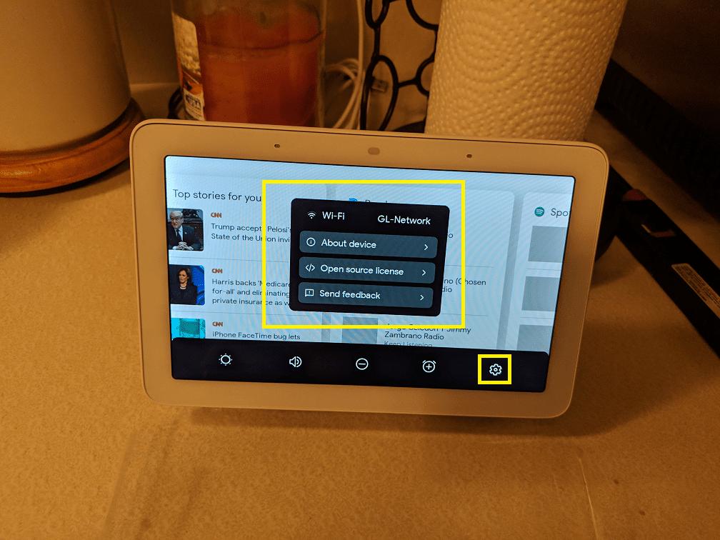 Advanced settings on Google Home Hub.