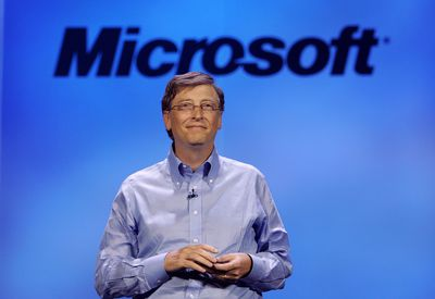 A photo of Microsoft chairman Bill Gates at the 40th annual Consumer Electronics Show