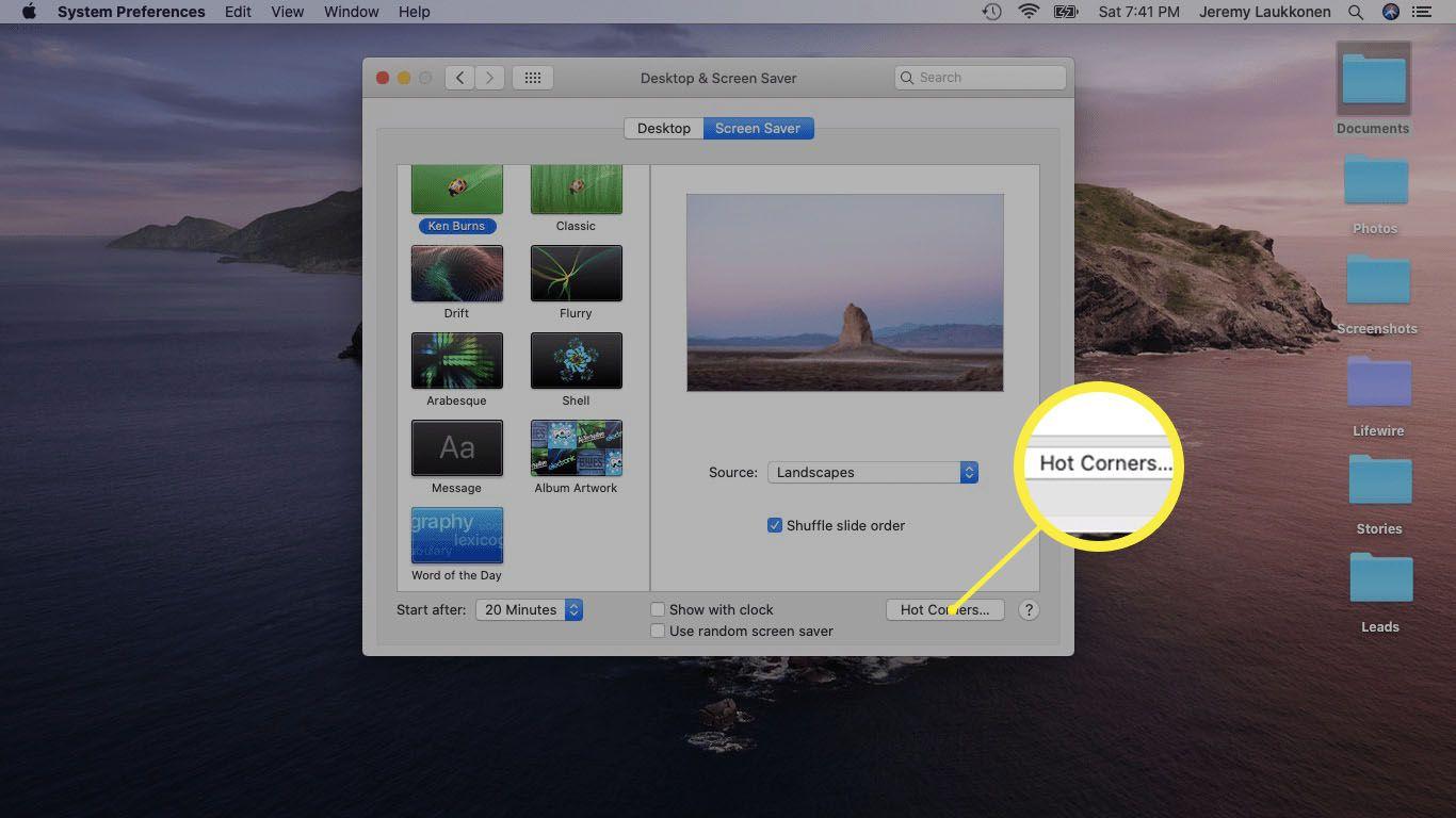 A screenshot of Screen Saver settings on a Mac.