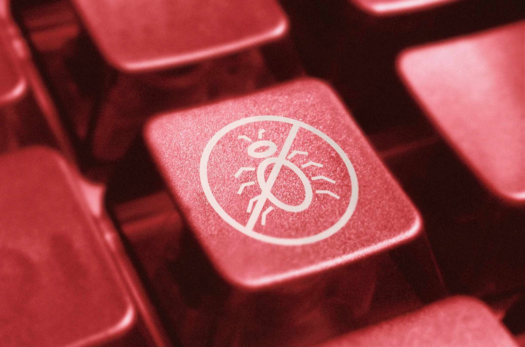 Photo of a virus indication key on a computer keyboard