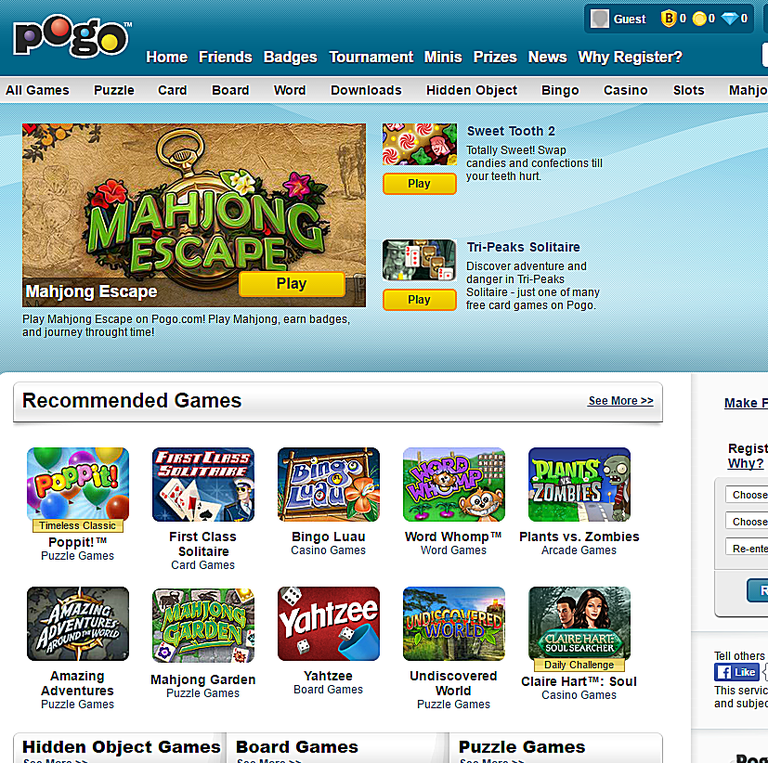 Screenshot of the Pogo.com website