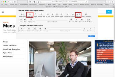 Safari toolbar customization options.