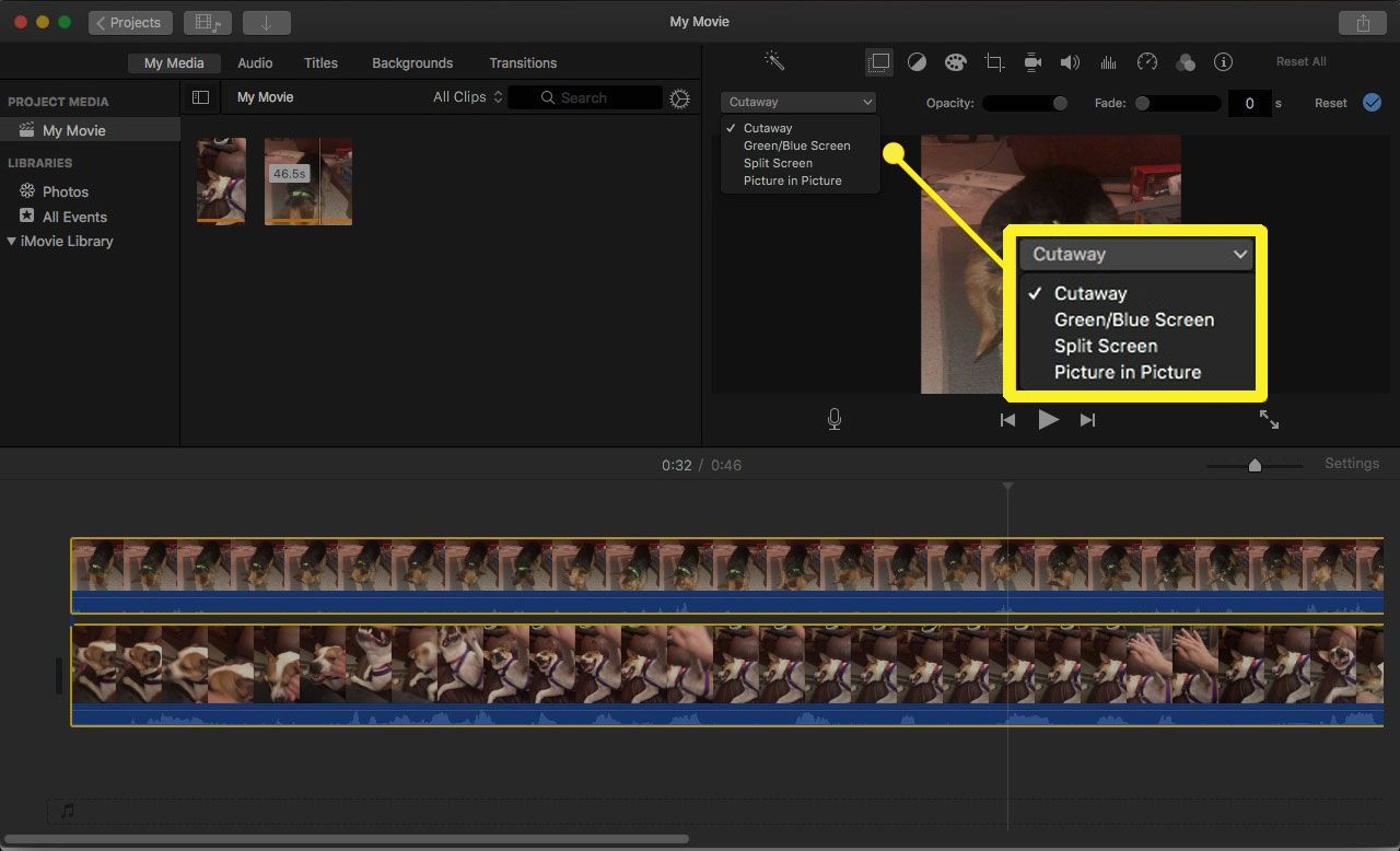 Overlay options drop-down in iMovie 10