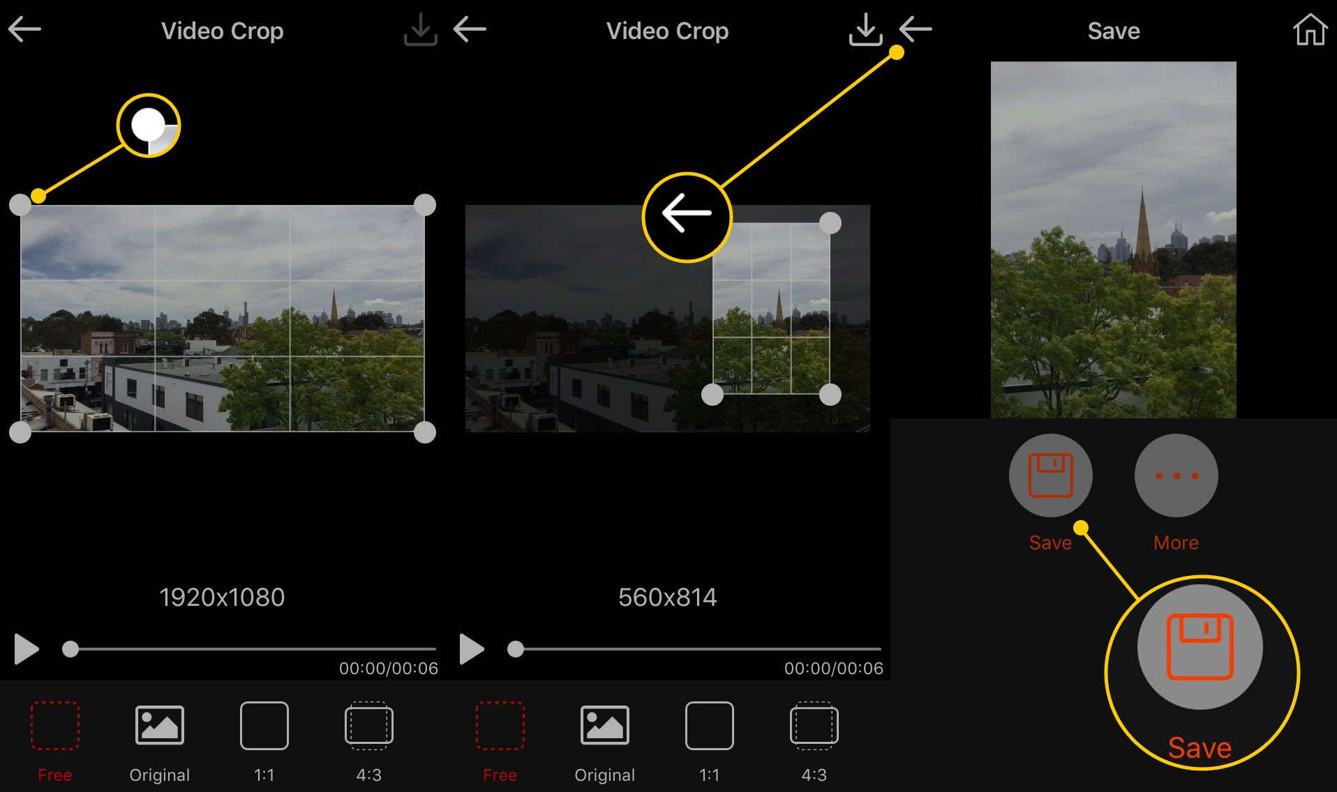 Cropping and saving a video in Video Crop for iOS