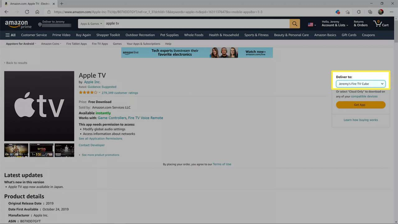 Deliver to: highlighted on the Apple TV page on the Amazon app store.